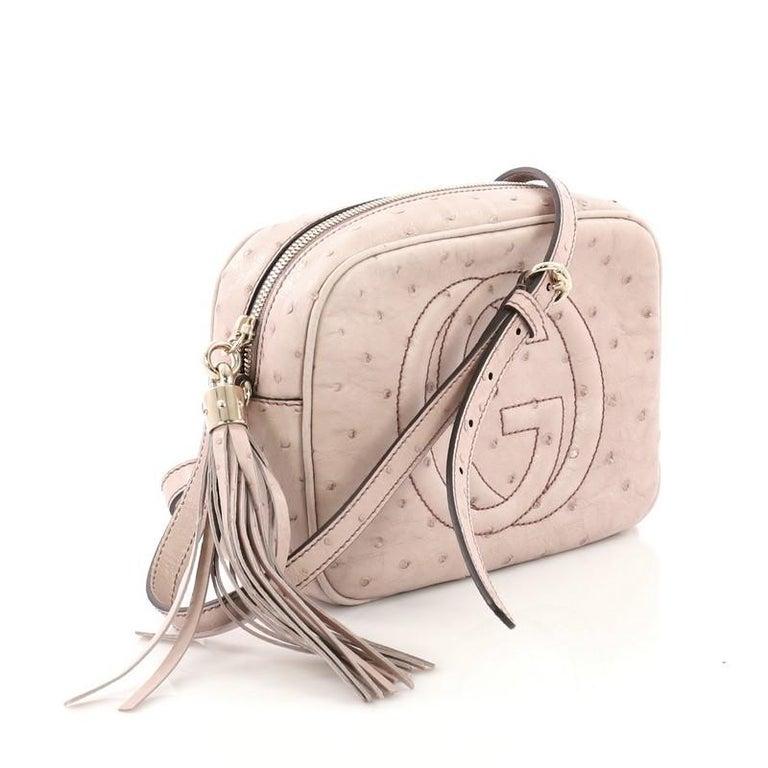 5eb8b5eb7 Beige Gucci Soho Disco Crossbody Bag Ostrich Small For Sale