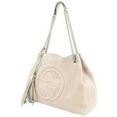 Gucci Soho Fringe Tassel Chain Tote 7gz0114 Pale Light Lilac Leather ShoulderBag