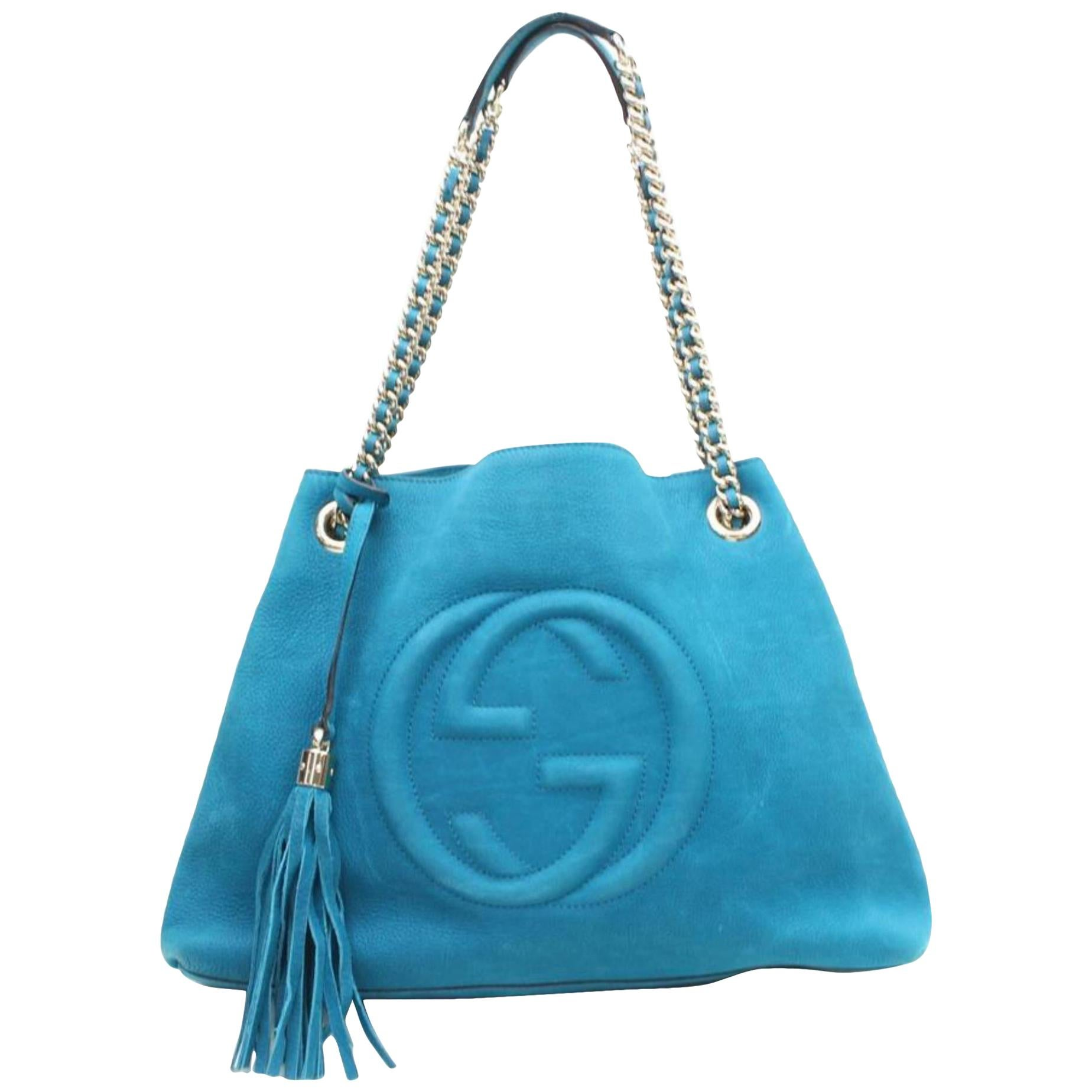 d0e824ad9 Gucci Blue Leather Large Handmade Top Handle Satchel For Sale at 1stdibs