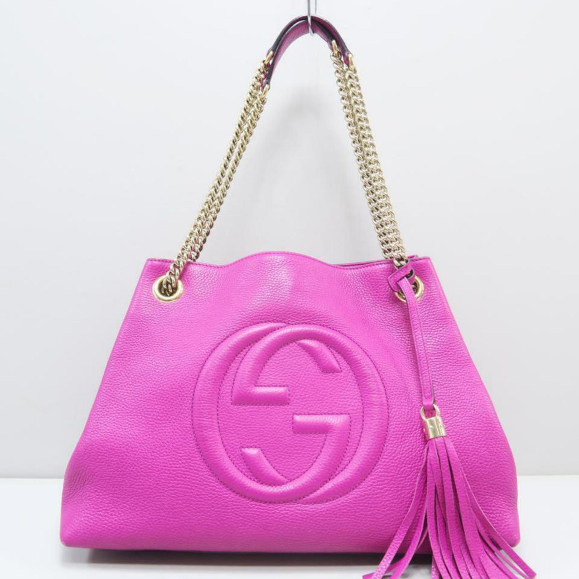 92777d6d2afb89 Gucci Soho Fringe Tassel Fuchsia Chain Tote 869084 Pink Leather Shoulder Bag  at 1stdibs