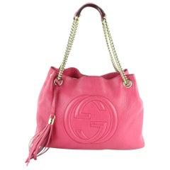 Gucci Soho Fuchsia Fringe Dark Fuschia Chain Tote 12gz1912 Pink Shoulder Bag