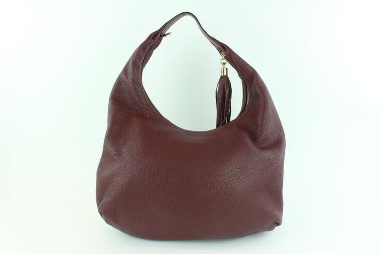d6d4157fef11 Gucci Soho Large Pebbled Calfskin 17gz1102 Burgundy Leather Hobo Bag For  Sale 6