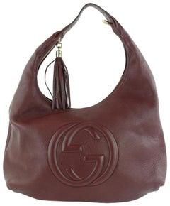 Gucci Soho Large Pebbled Calfskin 17gz1102 Burgundy Leather Hobo Bag