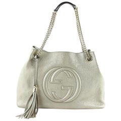 Gucci Soho Metallic Chain Tote 20ge0108 Gold Leather Satchel