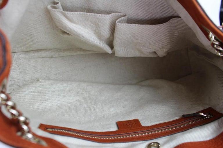99ff9b2902df Women's Gucci Soho Tassel Burnt Suede Chain Tote 7ge1223 Orange Nubuck  Leather Shoulder For Sale