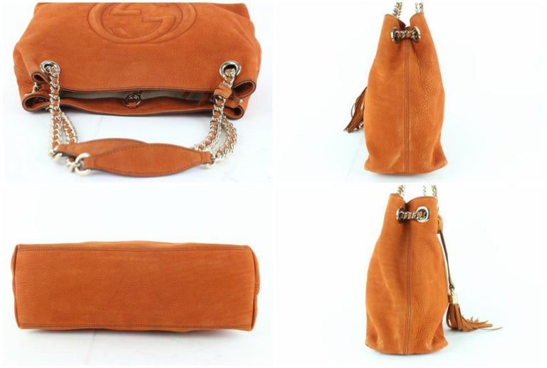 be0921b50a6c Gucci Soho Tassel Burnt Suede Chain Tote 7ge1223 Orange Nubuck Leather  Shoulder For Sale 2