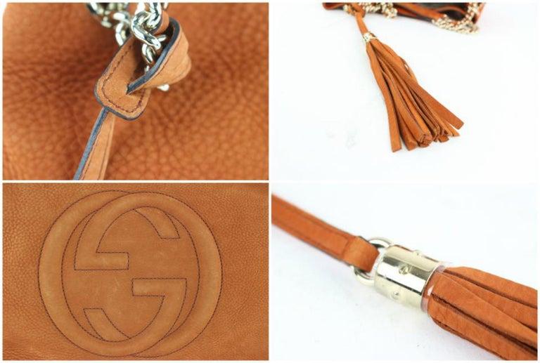 5231ca9d003d Gucci Soho Tassel Burnt Suede Chain Tote 7ge1223 Orange Nubuck Leather  Shoulder For Sale 4