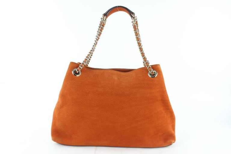 02c9919ff7b6 Gucci Soho Tassel Burnt Suede Chain Tote 7ge1223 Orange Nubuck Leather  Shoulder For Sale 5