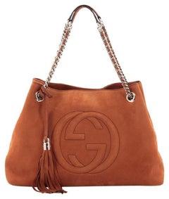 Gucci Soho Tassel Burnt Suede Chain Tote 7ge1223 Orange Nubuck Leather Shoulder