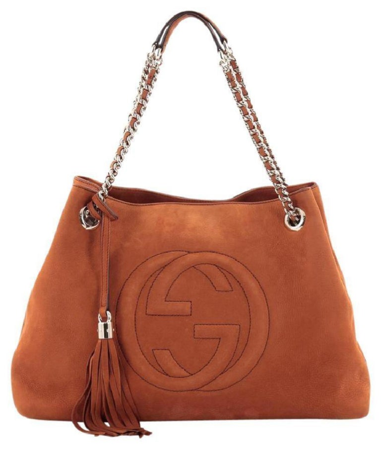 33c6a003308b Gucci Soho Tassel Burnt Suede Chain Tote 7ge1223 Orange Nubuck Leather  Shoulder For Sale