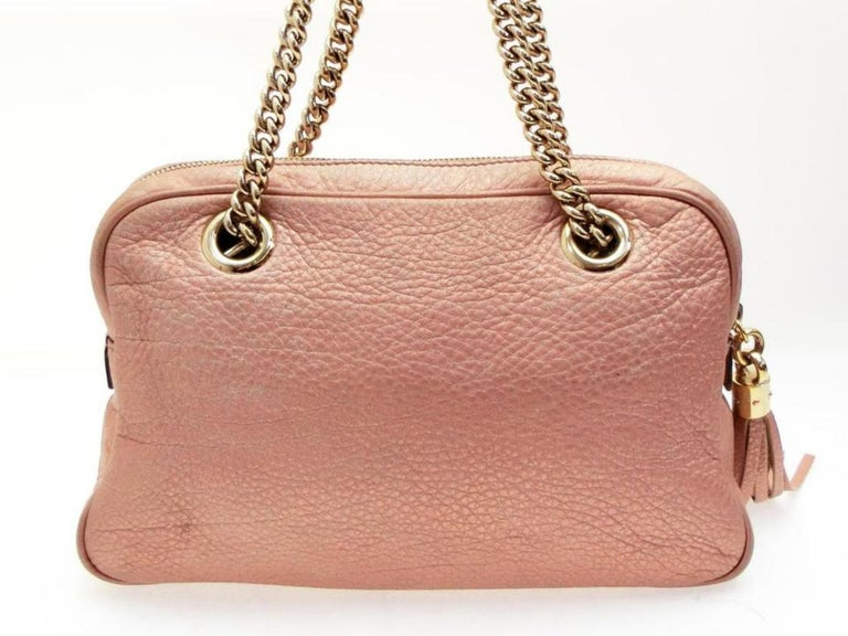 e682c6012d6ee Gucci Soho (Ultra Rare) Chain Camera 227986 Pink Leather Shoulder Bag For  Sale 4