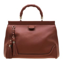 Gucci Solid Peach Leather Bold Bamboo Top Handle Bag
