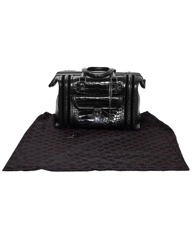 Gucci Special Order Runway Black Alligator Boston Doctor Bag For Sale 6