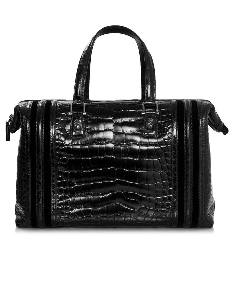 Gucci Special Order Runway Black Alligator Boston Doctor Bag In Excellent Condition For Sale In New York, NY