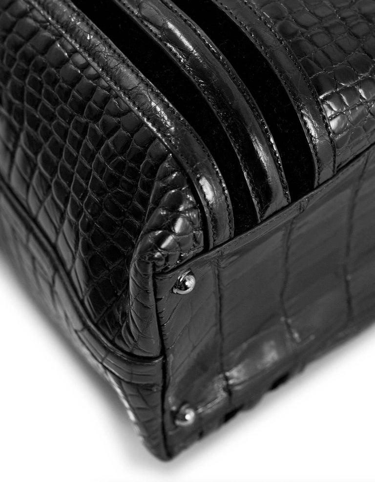 Women's or Men's Gucci Special Order Runway Black Alligator Boston Doctor Bag For Sale
