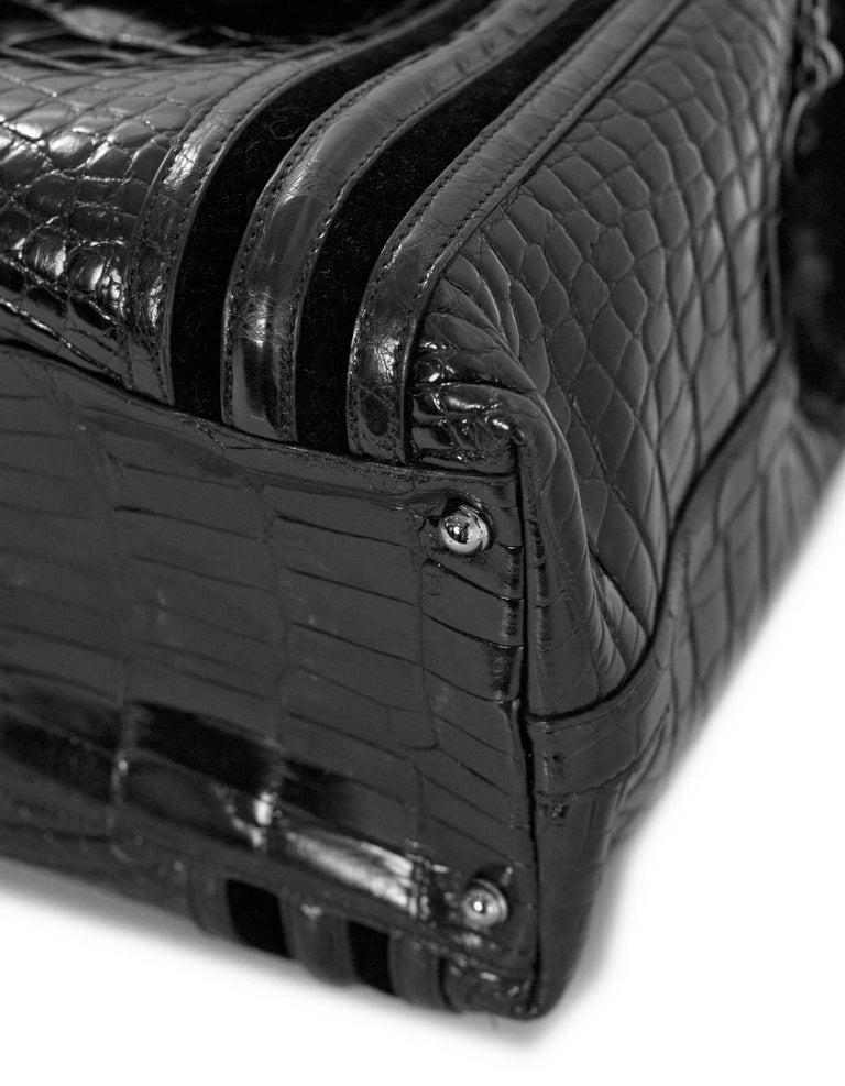 Gucci Special Order Runway Black Alligator Boston Doctor Bag For Sale 1