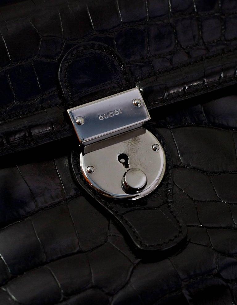 Gucci Special Order Runway Black Alligator Boston Doctor Bag For Sale 2