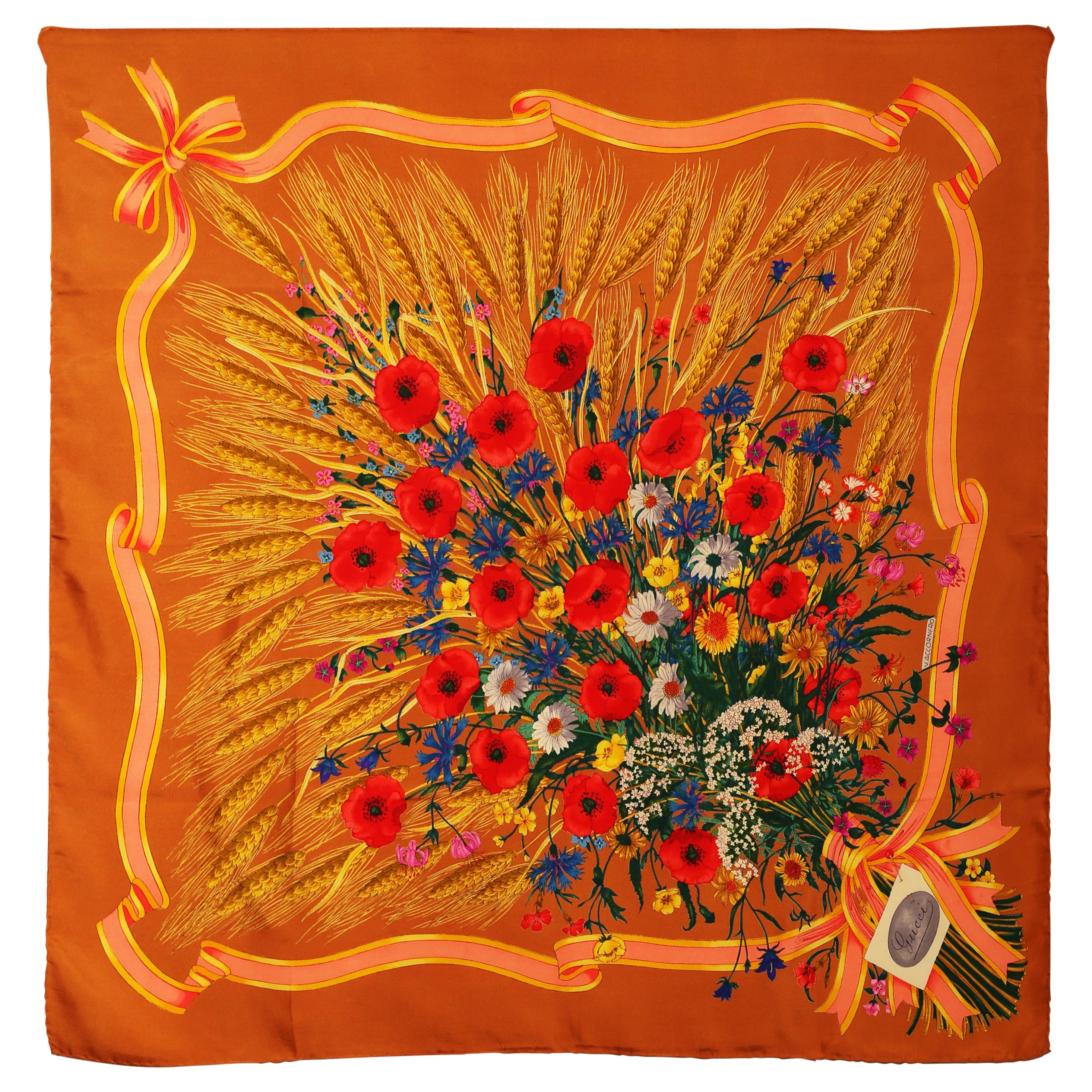 Gucci Spighe Wheat and  Poppy Flowers signed by Vittorio Acornero 1960´s-1970´s