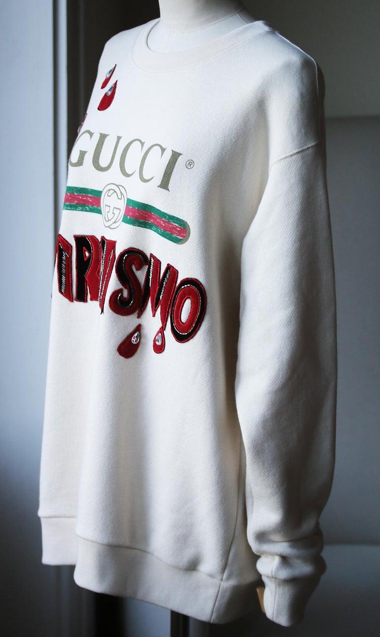 White Gucci Spiritismo Logo Cotton Sweatshirt For Sale
