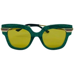 GUCCI Square Frame Acetate Glitter Sunglasses