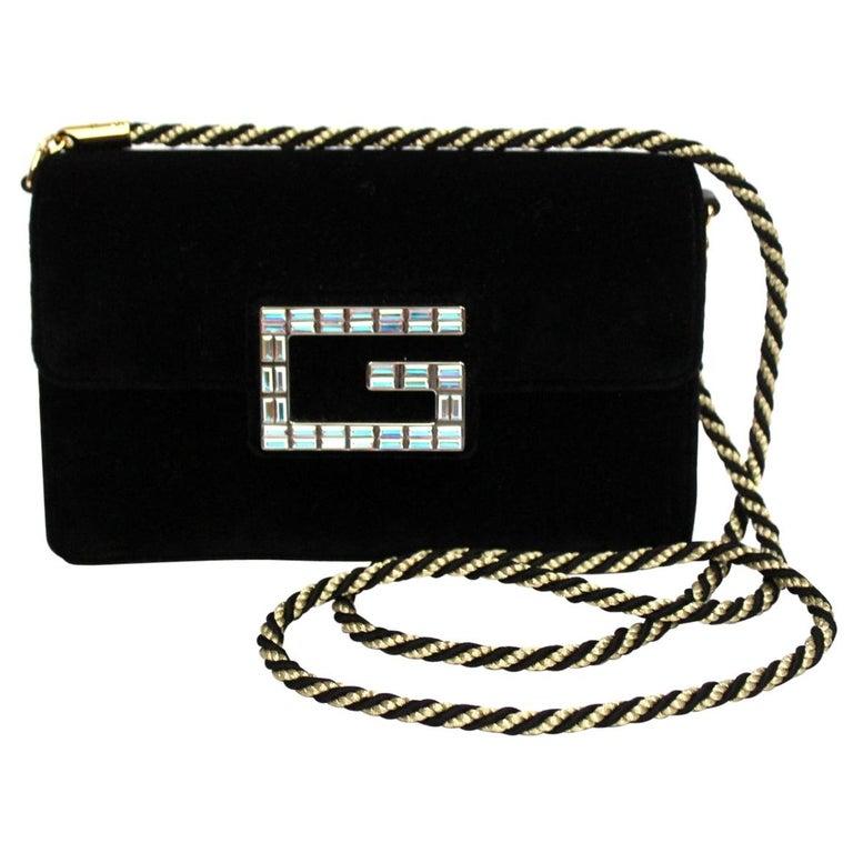 Gucci Square G Bag In Black Velvet  For Sale