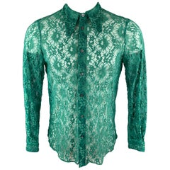 GUCCI SS 2016 Size S Green Lace Button Up Pointed Collar Long Sleeve Shirt