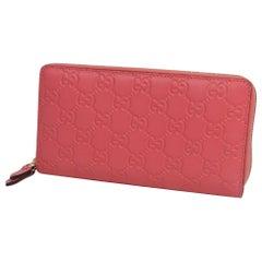 GUCCI ssima round zipper Zip unisex long wallet 410102 pink