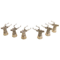 Gucci Stag Stirrup Cups, Silver Plated Brass, Signed