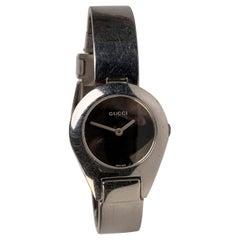 Gucci Stainless Steel 6700L Ladies Wrist Watch Bracelet Black Dial