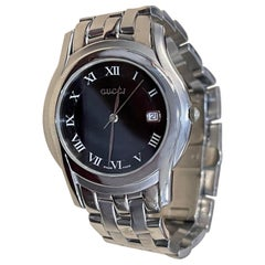 Gucci Stainless Steel Black Dial 5500L Roman Numeral Swiss Watch Unisex