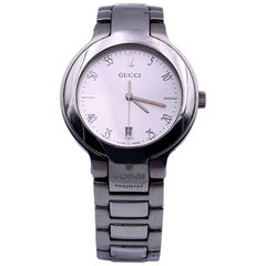 Gucci Stainless Steel Mod 8900 M Unisex Wrist Watch White Dial