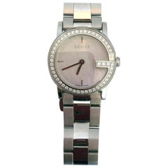 """Gucci Stainless Steel Mother of Pearl Face Diamond Encrusted """"101L"""" Watch"""