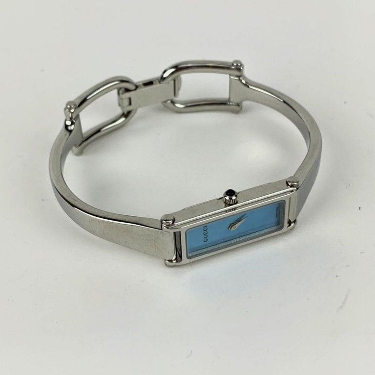 Women's Gucci Stainless Steel Women Wrist Watch Mod 1500 L Quartz Blue Dial For Sale