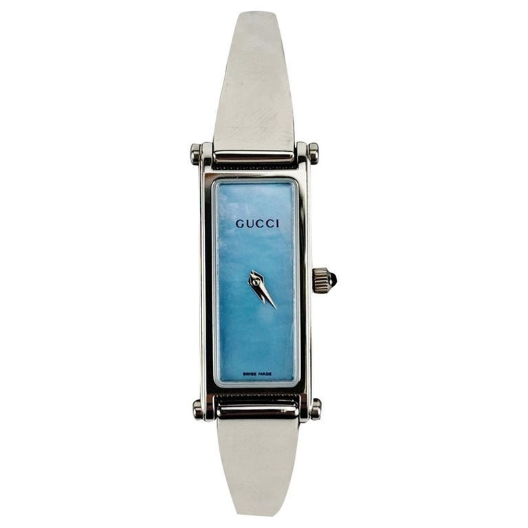 Gucci Stainless Steel Women Wrist Watch Mod 1500 L Quartz Blue Dial For Sale