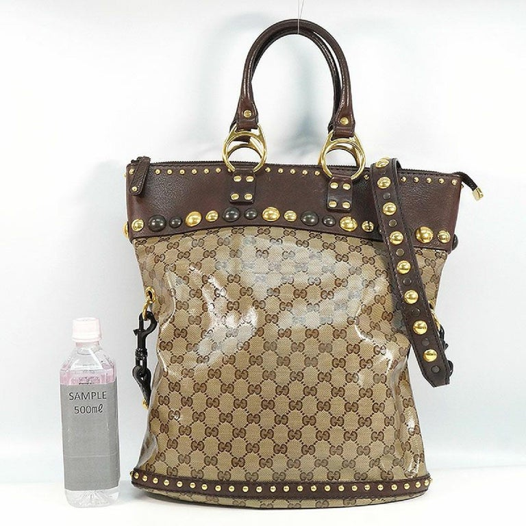 GUCCI stats 2WAY Womens tote bag 207282 212792 brown For Sale 6
