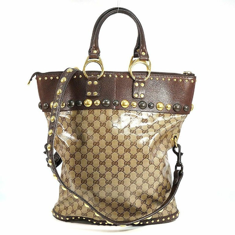 Brown GUCCI stats 2WAY Womens tote bag 207282 212792 brown For Sale