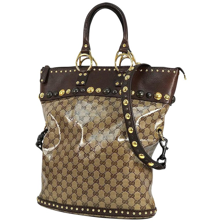 GUCCI stats 2WAY Womens tote bag 207282 212792 brown For Sale