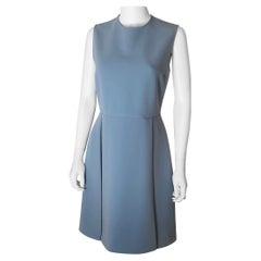 Gucci Steel Blue Wool Sleeveless Italian Size 44 Day Dress w/ Jewel Collar