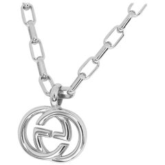 Gucci Sterling 925 Silver Interlocking GG Logo Pendant Necklace