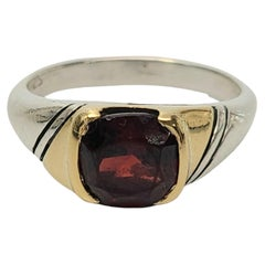 Gucci Sterling Silver 18K Yellow Gold Accent Red Stone Ring