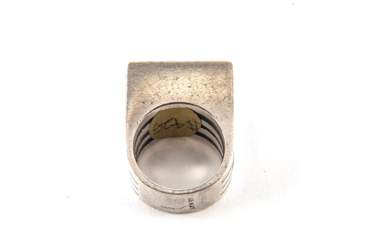 Gucci Sterling Silver and Ebony Ring by Puig Doria, Size 6 For Sale 5