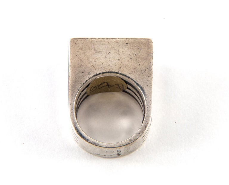 Gucci Sterling Silver and Ebony Ring by Puig Doria, Size 6 For Sale 6