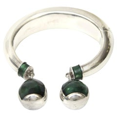Gucci Sterling Silver and Malachite Enamel Bracelet 1960's