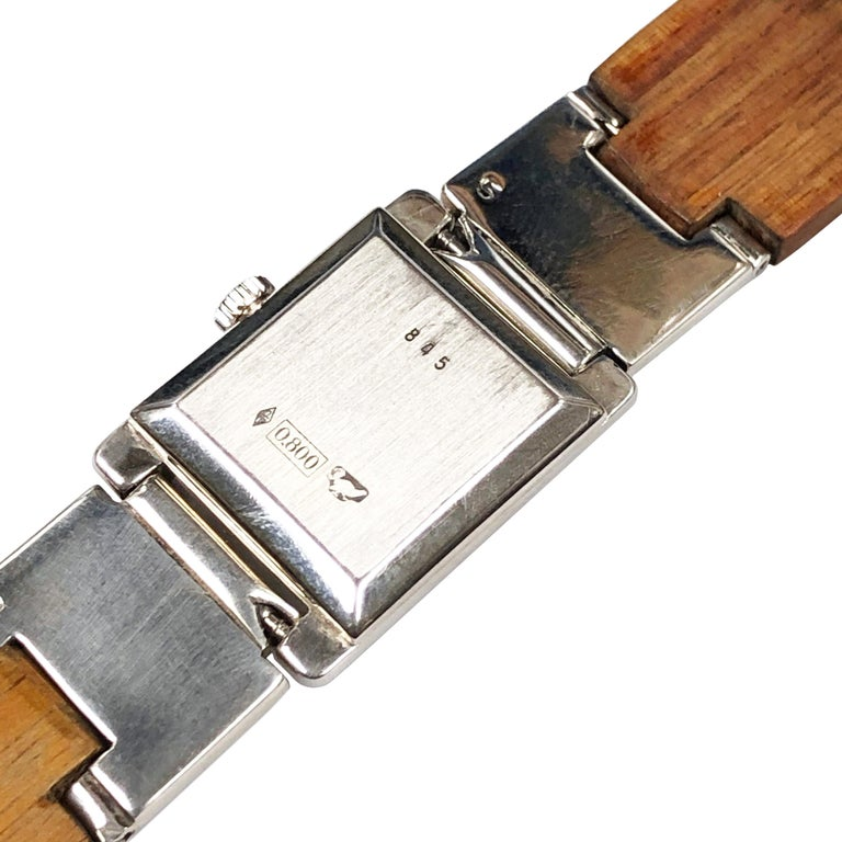 Modern Gucci Sterling Silver and Wood Bracelet Watch For Sale