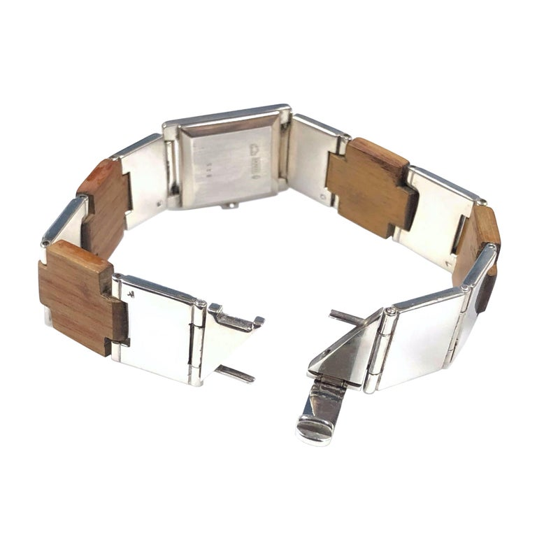 Women's or Men's Gucci Sterling Silver and Wood Bracelet Watch For Sale