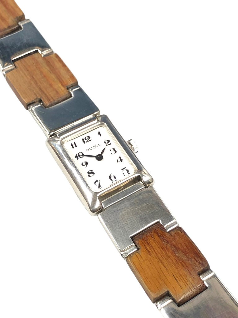 Gucci Sterling Silver and Wood Bracelet Watch For Sale 1