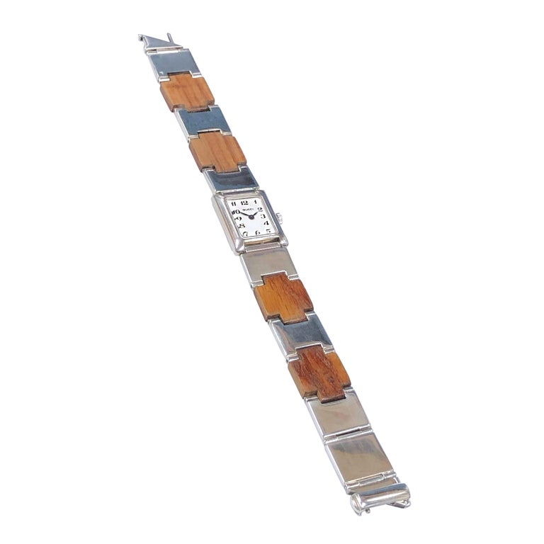 Gucci Sterling Silver and Wood Bracelet Watch For Sale 2