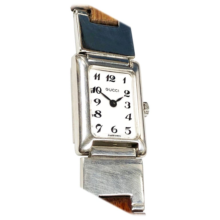 Gucci Sterling Silver and Wood Bracelet Watch For Sale