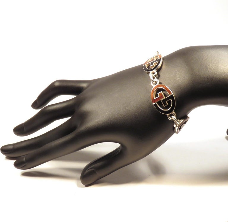 Contemporary Gucci Sterling Silver Black Brown Enamel Iconic Bracelet Handcrafted in Italy For Sale