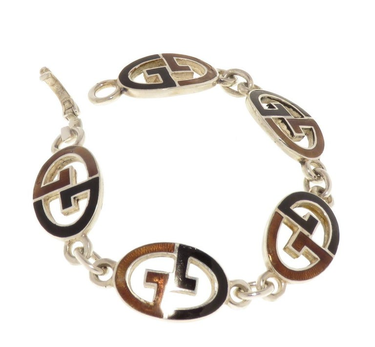 Gucci Sterling Silver Black Brown Enamel Iconic Bracelet Handcrafted in Italy In Good Condition For Sale In Milano, IT